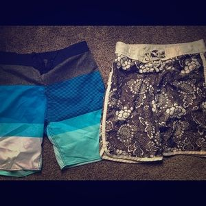 Two pairs of board shorts